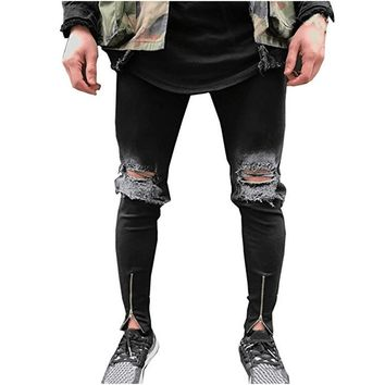 Men Jeans Stretch Skinny Hole Ripped Retro Fake Zippers Seasons Men Denim Jeans Black Bleached Casual Solid Fashion Washed
