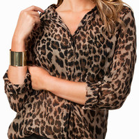 Leopard Print Long Sleeve Button Down Chiffon Blouse