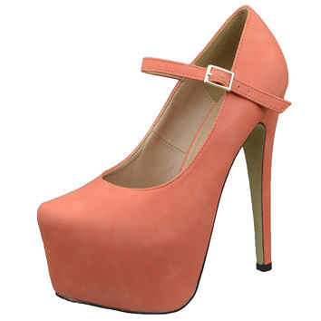 Womens Platform Shoes Ankle Strap Closed Toe Stiletto Pumps Orange SZ