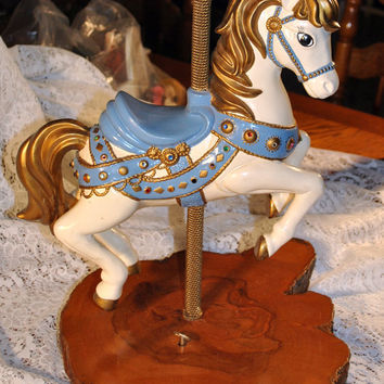 Carrousel Horse-Music Box-Hand Made-Refurbished-Collectible-Repurposed Wood Base -Slab Cut Tree Bark