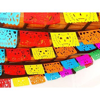 Muertos papel picado, Halloween decorations, day of dead banner,  5 Pack Banners 50 Feet Long!