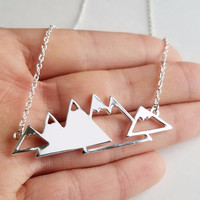 Mountain Range Necklace for Outdoor Lovers, Skiers and Hikers (Style 2)
