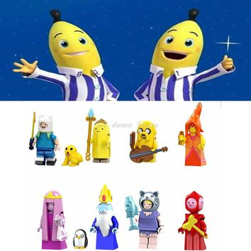 Legoing Duplo figures Adventure Time Finn Banana guard Jack Flame Princess Model Building Blocks Toys for Children Legoing toys