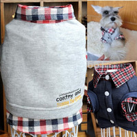 Dog Pets Grid Sweater Puppy Warm Coat T-Shirt Pet Clothes Shirt Apparel