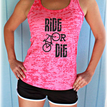 Ride or Die Workout Tank Top. Cute Womens Workout Clothing. Gym Motivation. Bicycle Shirt. Indoor Cycling.
