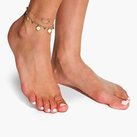 Ivy Double Layered Heart Pendant Anklet | Boohoo