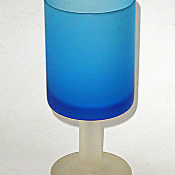 Carlo Moretti Goblet - Murano Satinato Glass - blue satin - early modernist design 1950s vintage retro modern