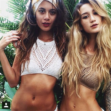 New Sexy Women High Waist Knitted Bikini Handmade Crochet Swimwear Hollowing Out Hand Knitting Swimsuit Beachwear Bath Suit