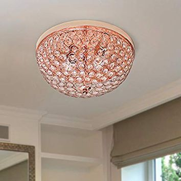 Elegant Designs FM1000-RGD 2 Light Elipse Crystal Flush Mount Ceiling Light, Rose Gold