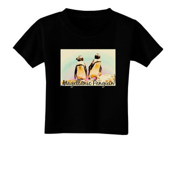 Magellanic Penguin Text Toddler T-Shirt Dark