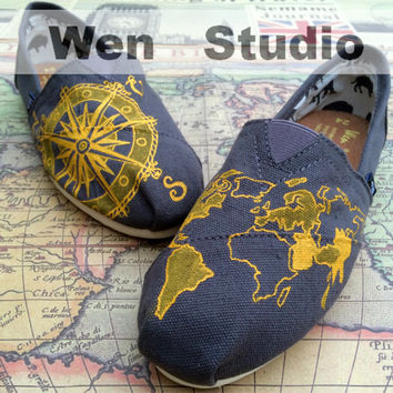 Colored World Map And Travel Compass Inspired Design Custom Hand Painted Shoes,Flats Shoes,Gray Shoes Custom Shoes Best Birthday Gifts