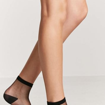 Sheer Contrast Crew Socks