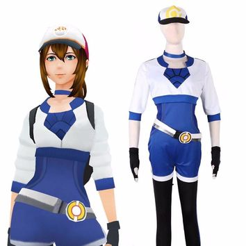Pokemon Go Blue Team Trainer Uniform Valor Instinct Mystic Costume Cosplay Suit