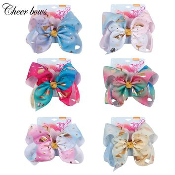 8 Inch Large Mermaid Hair Bow Ombre Ribbon HairBows For Girls Handmade Bow-knot Rainbow Ribbon Hair Bows Kids Hair Accessories