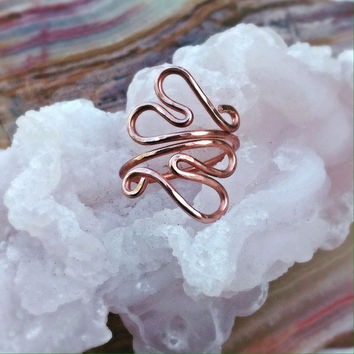 Double Heart Ring, Hammered Heart Ring, Adjustable Copper Ring