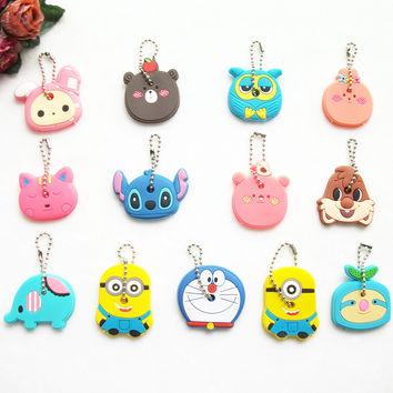 Anime Manga Lilo Stitch Despicable Minion Doraemon Owl Bear 2 Piece lot Key Cover keychain Holder