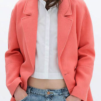 Orange Lapel Pocket Detail Long Sleeve Cocoon Wool Coat