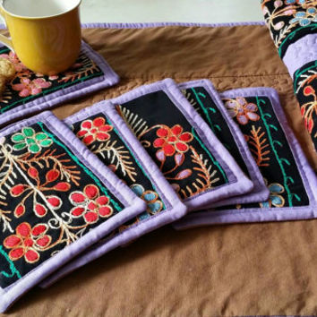 Handmade quilted table runner, coasters, homemade table runner, embroidery table runner