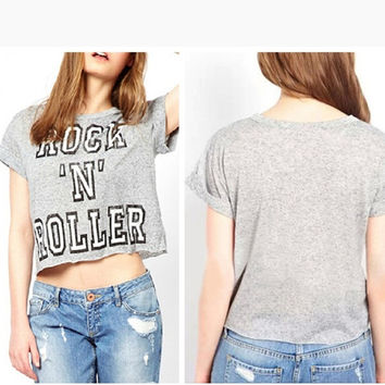 Vintage Summer Style Crop Top Roll-up Short Sleeve Letters Printed T Shirt Women 2015 Plus Size Casual Cropped Tops Tees = 1956615876