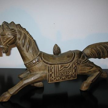 Folk Art Wild Running Horse Wood Carving Equestrian Sculpture