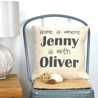 Personalised Home Is Where We Are Cushion Cover