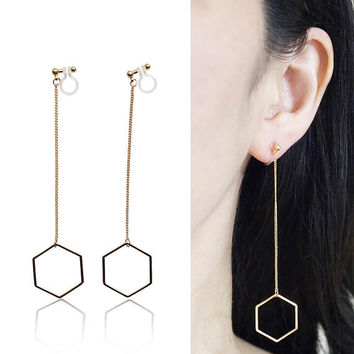 Dangle Long Gold Hexagon Invisible Clip on Earrings Minimalist Theader Clip Earrings Geometrics Clip-on Non Pierced Earrings Chic Earrings