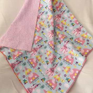 Pink Princess Print Flannel Receiving or Swaddling Blanket, Double Layer, 2 Layer Serged Blanket, New Design, Crib or Stroller Blanket
