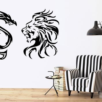 TRIBAL LION VS DRAGON Decor Wall MURAL Vinyl Art Sticker Unique Gift M094