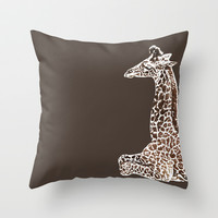 Giraffe in Brawn Throw Pillow by Sunshine Inspired Designs