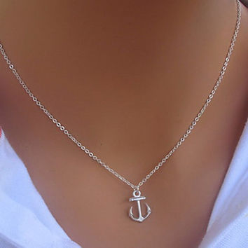 Anchor Shape Alloy Pendant Necklace