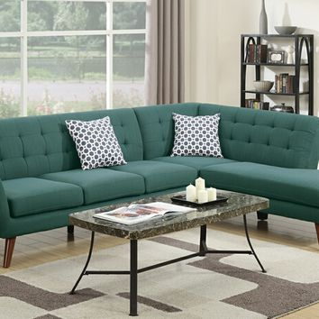 Poundex F6955 2 pc abigail collection laguna linen like fabric upholstered sectional sofa with tufted back