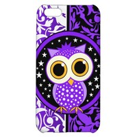 purple damask and owl