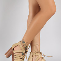 Qupid Vintage Open Toe Strappy Chunky Heel