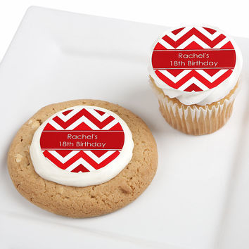 Chevron Red - Personalized Birthday Party Edible Cupcake Toppers - 12 ct