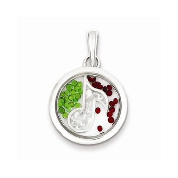 Sterling Silver Music Note and Floating Glass Beads Pendant