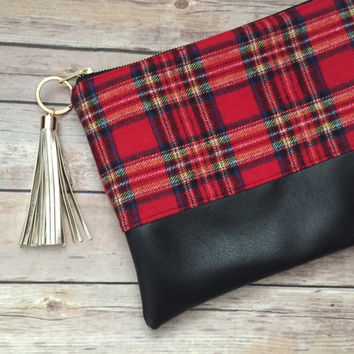 Red Tartan Plaid Clutch with Gold Tassel, Red Plaid Clutch, Tartan Plaid Clutch, Plaid Clutch