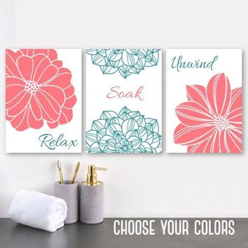 CORAL TEAL Bathroom Wall Art, CANVAS or Prints, Coral Teal Flower Bathroom Wall Decor, Relax Soak Unwind, Bathroom Quotes Pictures, Set of 3