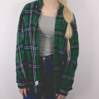 Vintage Green Navy Plaid Flannel Shirt