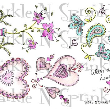 Hearts and Flowers Rubber Stamp Set, 00-306P4