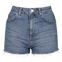 MOTO Vintage Wash Mom Short - Denim - Clothing