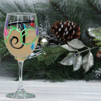 Personalized Christmas Wine Glass / Christmas Lights Wine Glass / Hand Painted Wine Glass