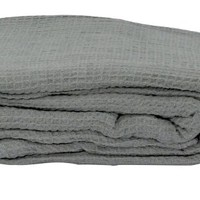 LCM Home Fashions Cotton Thermal Blanket, Full/Queen, Grey