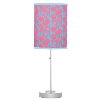 Japanese Floral Print - Pink & Purple Table Lamp