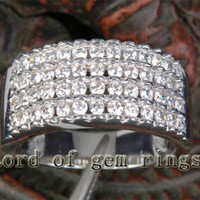 Diamond Wedding Band Engagement Ring 14K White Gold 1.02ctw Gorgeous Channel