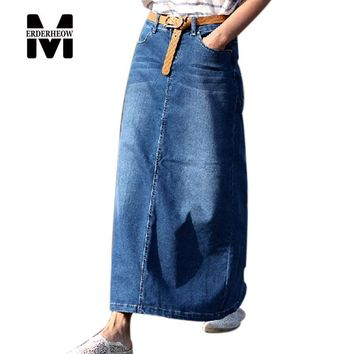 Merderheow 2017 Spring Summer Korean style all-matched Fashion Women Casual Maxi Skirt Top quality Vintage Denim Long Skirt L390