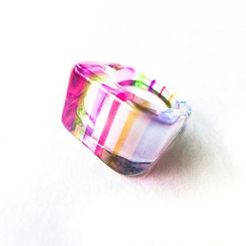 Mod Ring Asymmetrical Ring Geometric Jewelry Lucite Ring Costume Jewelry Pastel SZ 7 Ring Retro Pink Green Light Blue Orchid Red Stripes
