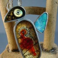 Steampunk Resin Opal Silver Bird Pendant with by AlleyMaranto