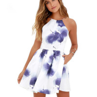 Fashion sexy straps Blue ink printed pleated dresses Blue flower