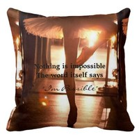 Nothing is Impossible Ballet Throw Pillow