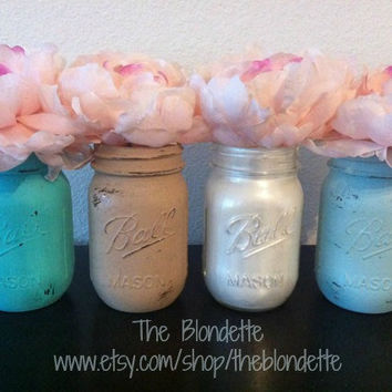 Painted Mason Jar. Ocean Breeze. Vase. Home Decor. Beach. Summer. Set of 4